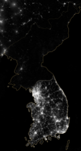 The Korean Peninsula at night from space